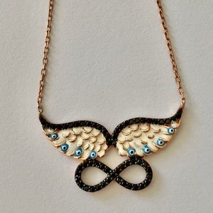 Jewelry - Silver angelwings handmade enamel evileye necklace